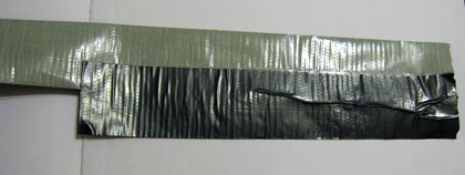 overlaying duct tape strips
